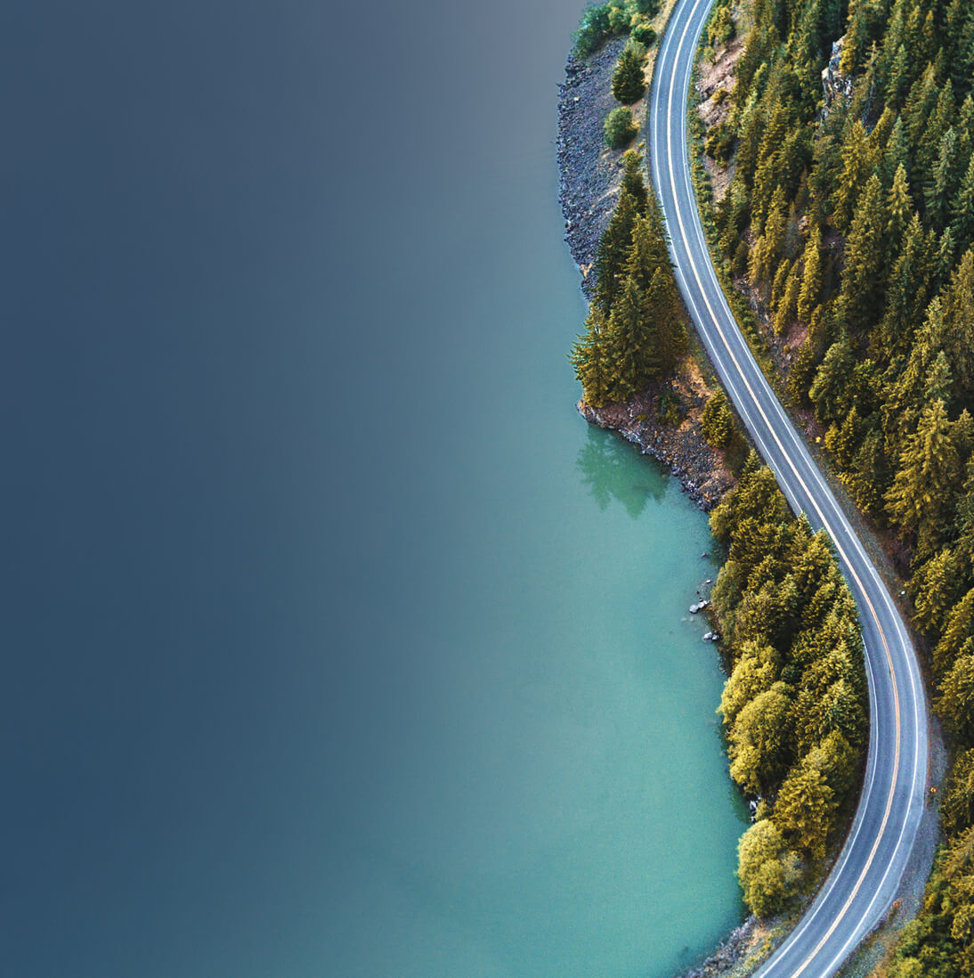 Aerial photo of a coastal highway